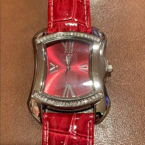 Accessories - Red watch with Roman numerals and crystals